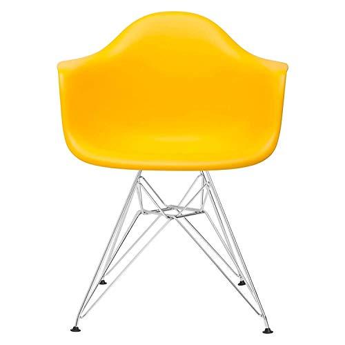 XHHWJJ Mid Century Modern Vintage Designer Molded Shell Kunststoff Sessel mit Armlehnen Rücken Chromdraht Metallsockel Esszimmerstühle Wohnzimmer -