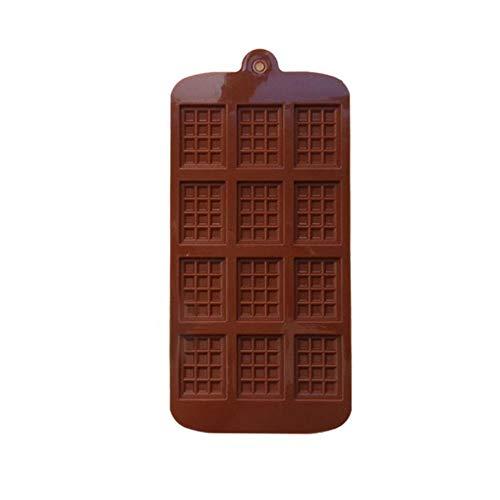 LASISZ Silikonform 12 Auch Schokoladenform Fondant Formen DIY Schokoriegel Form Kuchen Dekoration Werkzeuge Küche Backen Zubehör, Braun, Rechteckig