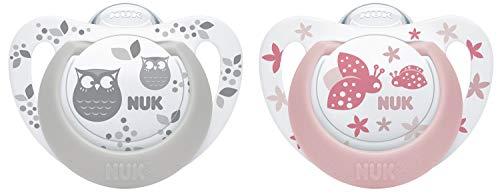 NUK Genius Color Silikon-Schnuller, kiefergerechte Form, 0-6 Monate, 2 Stück, rosa & grau (Neugeborene Beruhigungssauger Mädchen)