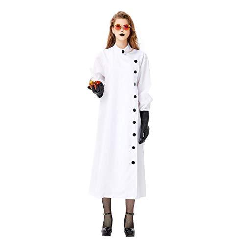 Frauen Kostüm Wissenschaftler - Erwachsene Frauen Halloween Frankenstein White Labs Set Laborforscher Männer und Frauen Weiß Tuen Mun Wissenschaftler Cosplay Kostüm (Color : White, Size : M)