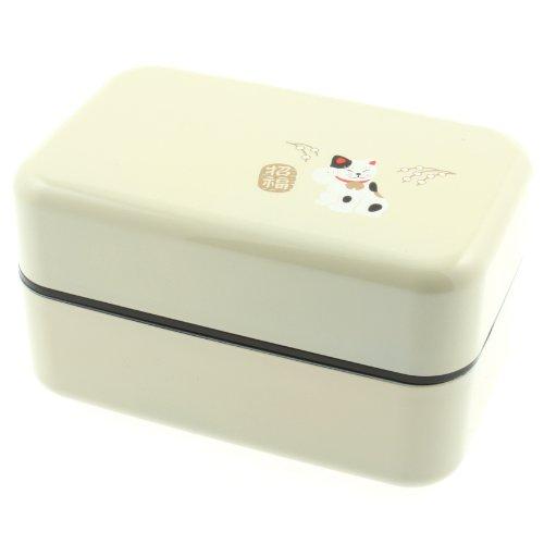 Kotobuki 2-Tiered Bento Box, White Maneki Neko Lucky Cat by Kotobuki (Kotobuki-bento)