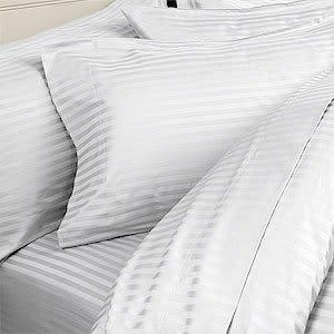 600Fadenzahl Ägyptische Baumwolle Lange Wasserbett-Bettlaken-Set, Cal King, Weiß gestreift