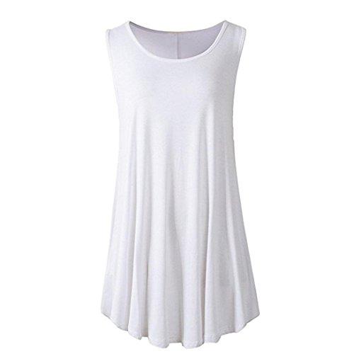 ZIYOU Kurzarm Damen, Frauen Freizeit Bluse T-Shirts/Casual Oberteile Beiläufig Pullover Lose Sport Hemd (Weiß-B, L)