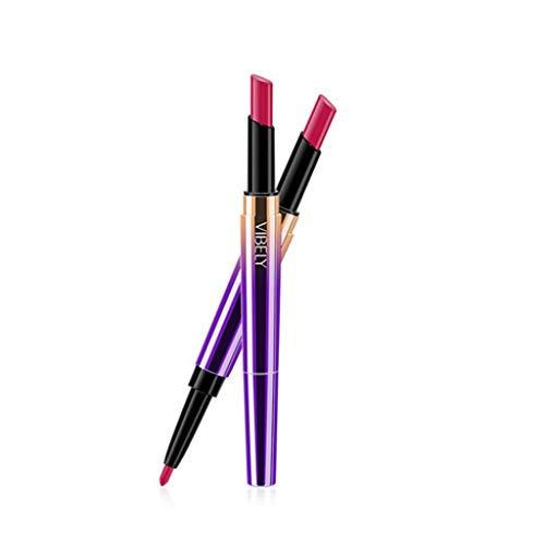 TOWAKM Lippenstift,Doppelseitiger dauerhafter Lipliner wasserdichter Lippenzwischenstift 16 Farbe -