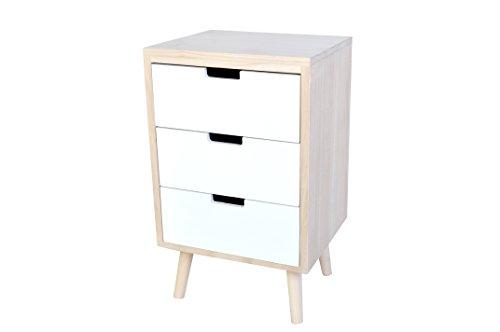Kommode aus naturfarbenen Holz mit 3 weißen Schubladen 36x30x59cm