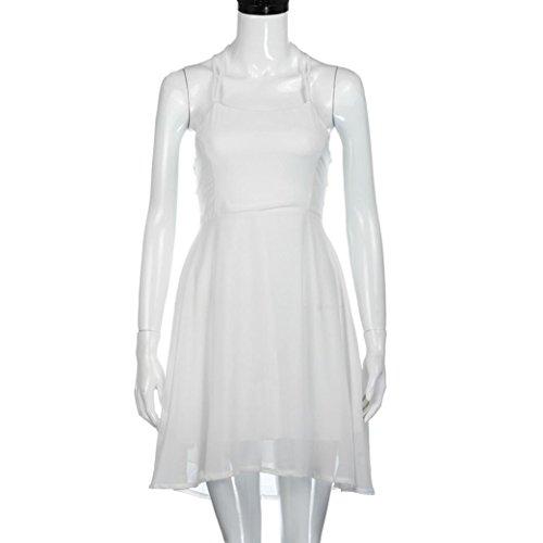 Oyedens Damen Sexy Backless Verband äRmellose Minikleider Weiß