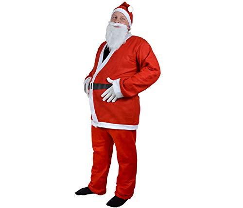 Santa Magix Weihnachtsmannkostüm Weihnachtsmann Nikolaus Kostüm traditionell komplett mit Mütze Oberteil Hose Bart Gürtel weiße Handschuhe WM-74 -