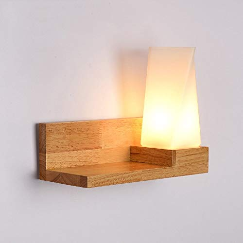 Risjc Cubo de estilo japonés sólido aplique de pared de madera Lámpara creativa del estante de madera...