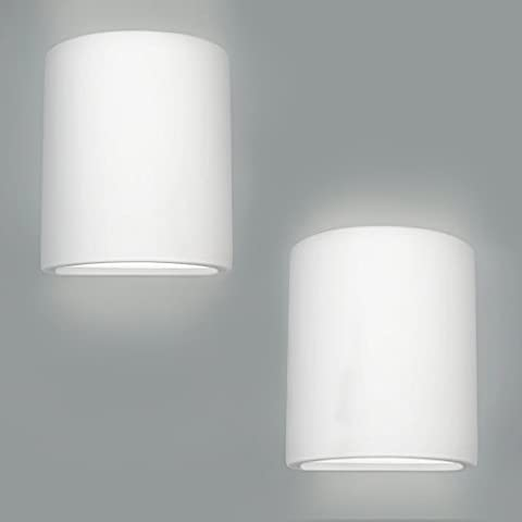 Pair Of - Modern Curved Ceramic Up/Down Wall Wash Lamps In A Paintable White Finish