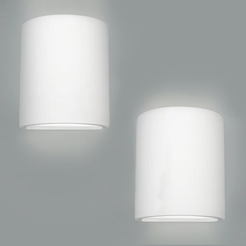 White wall lights amazon pair of modern curved ceramic updown wall wash lamps in a paintable white finish aloadofball Choice Image