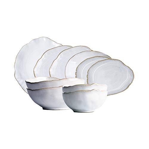 RKY Bol- Couverts irréguliers 10 pièces assiette plaque assiette steak saladier bol de nouilles bol ensemble /-/