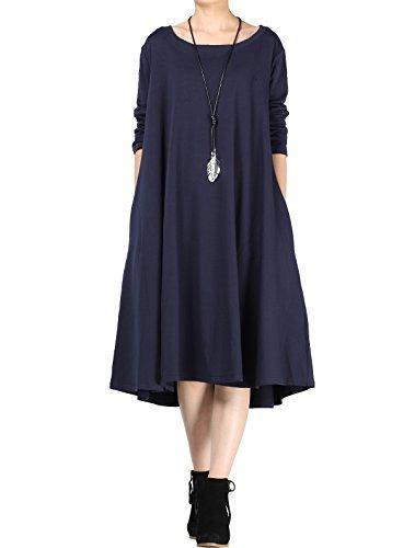 Vogstyle Donna Nuovo Abito Con Collo Fondo Stile-1 Blu