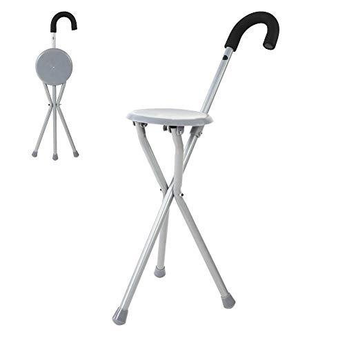 Zer one Metall Tragbarer Wanderstöcke Stock Stuhlfalten Verstellbarer Spazierstock Stick Chair Sitzhocker Travel Cane Chair -