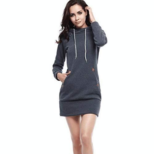 MYEDO Damen Kapuzenpullover Hoodie Damen Langarm Sweatshirt Damen Langarm Hoodies Casual Herbst Kleid Pulli Kleider Sweatjacke (Grau, M)