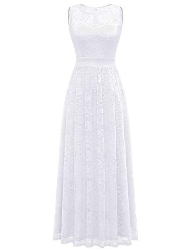 WedTrend Damen Spitzen Lange Brautjungfer Kleid Abendkleid Party Ärmellos Cocktailkleid EWTL10007B-IvoryS