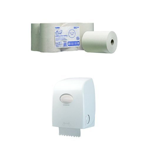 SCOTT Slimroll Airflex Hand Towels (product code 6657) 165m white, 1 ply sheet per roll (pack contains 6 rolls) Plus Dispenser