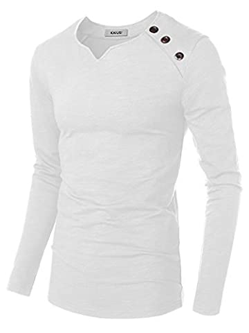 KAIUSI Homme T-shirt Tops a Manches longues Pull-over Blanc