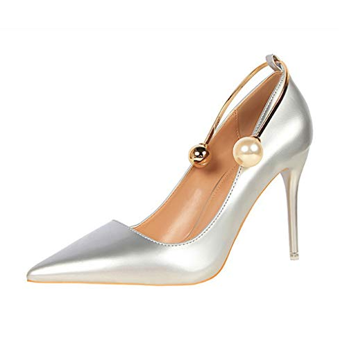 Womens Spitzschuh High Heel Slip On Stiletto Pumps Hochzeit Schuhe Knöchel Perle - High Elf Female Kostüm