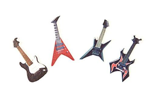 Streudeko aus lackiertem Holz Mini Gitarren für Musikfans, Gitarristen & Rocker - Inhalt 8 Stück pro Verpackungseinheit - Grösse pro Element 4cm