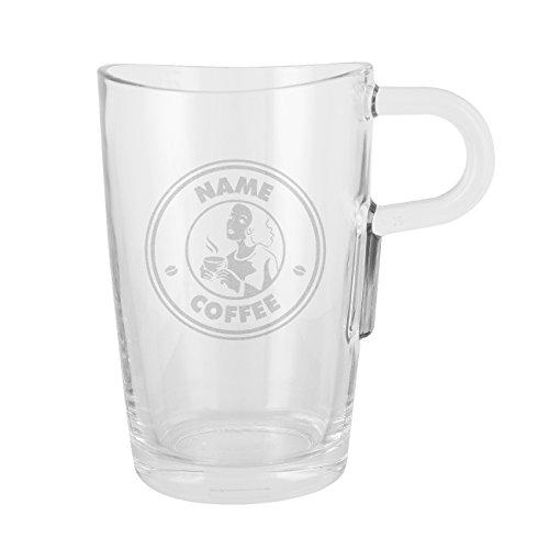 Herz & Heim® Leonardo Loop Glastasse mit Gravur des Wunschnamens für Kaffeegenießer 851