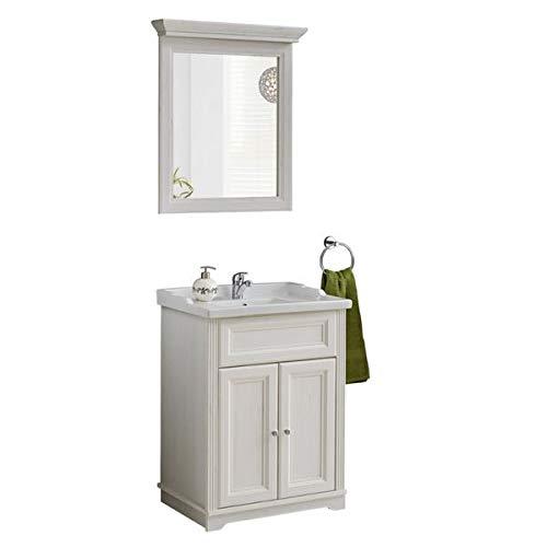 Jadella Badmöbel Set \' Nevio 3 TLG \' Waschbecken Spiegel Unterschrank 60cm Weiße Pinie Landhaus