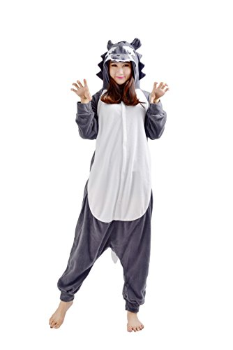 YARBAR Onesies animaux Cosplay pyjamas unisexes adulte costume d'Halloween Combinaison Kigurumi Loup Carnaval Gris