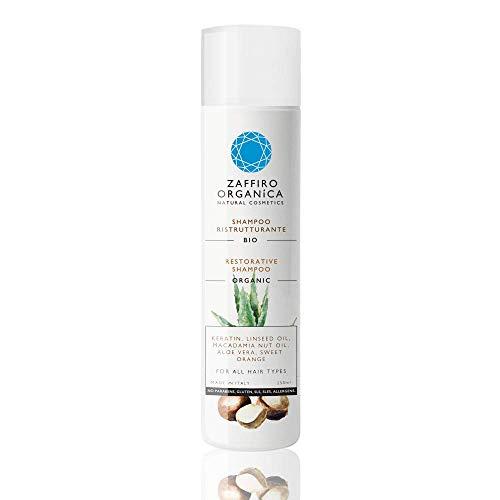 Zaffiro Organica Naturkosmetik - Veganes Bio Pflege Shampoo mit Keratin und Aloe Vera ohne Silikone und Sulfate. Mit 100 prozent natürlichen, zertifizierten Inhaltsstoffen. Alle Haartypen (1x250ml)