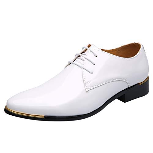 FNKDOR Schuhe Herren Geschäft Lackleder Spitz Lederschuhe Formelle Kleidung Berufsschuhe Schnürsenkel Freizeit Business-Schuhe Kleid Schuhe Weiß 42 EU - Kleidung Business