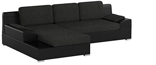 Ecksofa Aldo mit Glasregal, Couchgarnitur mit Bettfunktion und Bettkasten, Sofagarnitur, Couch mit Schlaffunktion, Big Sofa (Schwarz + Graphit (Soft 011 + Inari 94), Ecksofa Links)