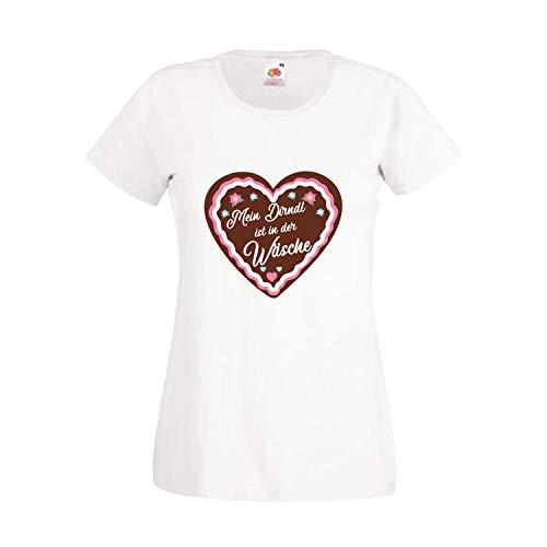 Oktoberfest T-Shirt für Damen mit Motiv -Mein Dirndl ist in der Wäsche- Frauen Tracht Weiß XL