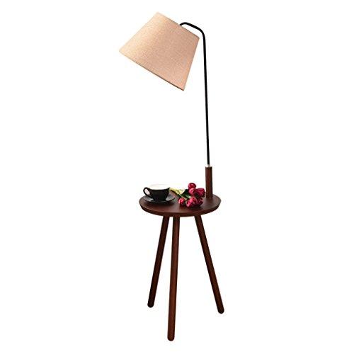 Home mall- Holz Stehlampe | Moderne minimalistische Stehleuchte mit kleinem Tisch | für Wohnzimmer Schlafzimmer Arbeitszimmer 38X140cm (Farbe : Beige)