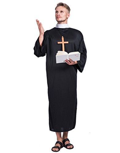 EraSpooky Prete Tunica Uomo Tradizionali Vicario Religioso Costumi
