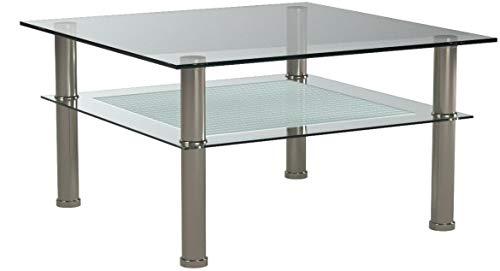 Glastisch 80 x 80 cm zarter Beistelltisch Ecktisch Couchtisch aus Edelstahl mit 10 mm ESG Sicherheitsglas