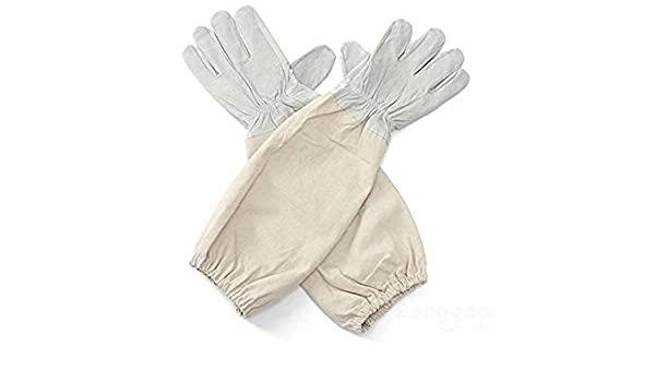 XL Size Beekeepers White Leather Gloves