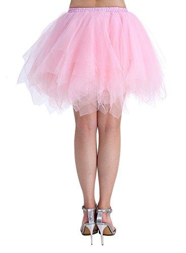 Dressystar Minirock Kurz Unterrock Tutu Unregelmäßig Tüll Damen Mädchen Ballettrock Multi-Schichten Rosa