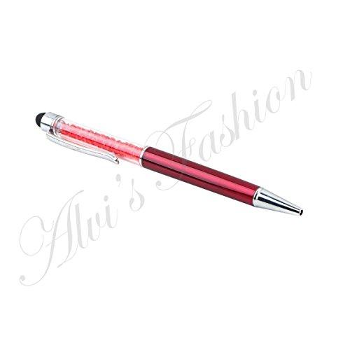 Multiuso penna a sfera con cristalli e pennino capacitivo per Touch Screen Tablet/Smartphone/iPhone, Black, 10-15 yrs Red