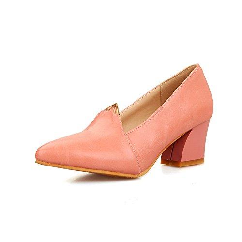 BalaMasa da donna, con tacco Kitten Imitated pompe, in pelle, per scarpe Pink