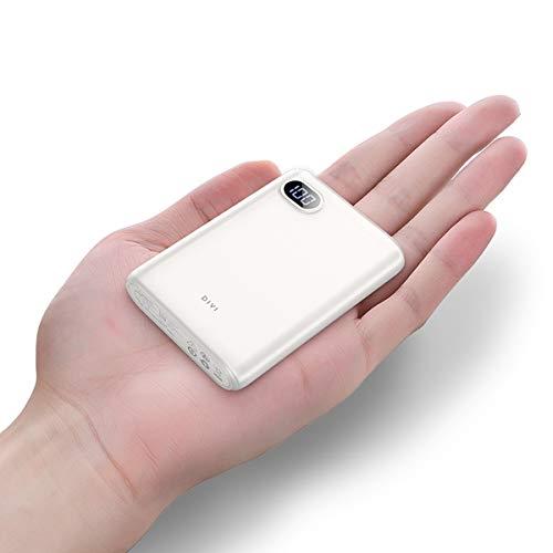 DIVI Powerbank 10000mAh, Kompakte Externer Akku Handy Ladegerät Power Bank Pack mit Hohe Kapazität 2 USB Ausgängen für iPhone, iPad, Samsung Galaxy und Viele Mehr by AINOPE (Weiß)