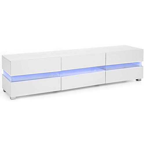 Wohnling WL5.715 Meuble TV Design en Bois HiFi Blanc 176,5 x 45 x 40 cm