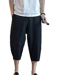 Pantalones De Harén De Los Hombres Pantalones es Retro Pantalones Ropa De Capri  Pantalones De Playa Pantalones De Lino… 3b137cd9aba