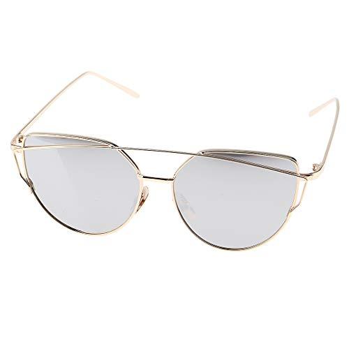 P PRETTYIA Vintage Katzenauge Rahmen Metall gestell UV-Schutz Sonnebrille Cat Eye Gläser Brille - Gold