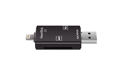 Julyfox 3 in 1 Speicherkartenleser USB3.0/Micro USB/Lighting 4K Videospiel keine Verzögerung für iPhone iPad iPod Rechner PC Android Smartphone Tablet SD/SDHC/Micro SD/TF Karte Unterstützung(schwarz)