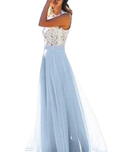 Minetom Damen Elegant Maxikleider Ärmellos Ballkleid Cocktailkleid Partykleid A-Linie Hochzeit Brautjungfernkleid Dünn Spitze Stitching Dress Blau