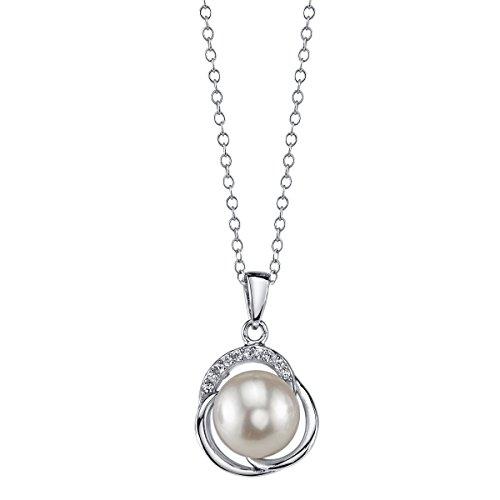 9 perle d'acqua dolce bianche & Johnson-Ciondolo con cristallo