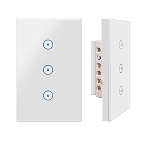 Interruttore luce Jinvoo Smart Wi-Fi Switch 3 Panel Panel USA, 2-Pack, Smart Touch Switch, Funzione timer, controllo vocale, telecomando con smart phone, funziona con Alexa Echo e Google Assistant