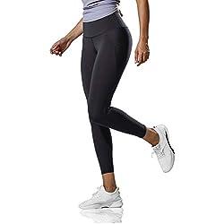 CRZ YOGA Mujer Lycra Compression Leggings Cintura Alta Deportivos Running Fitness Pantalon con Bolsillo -17''/25'' Negro R424 M(40)