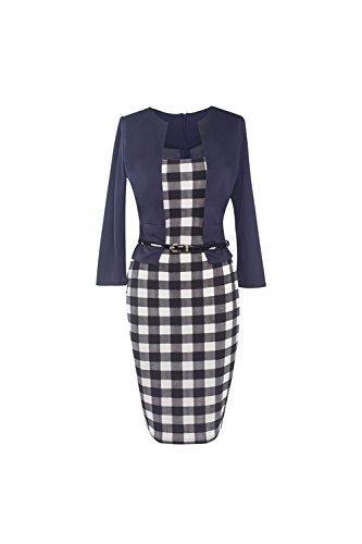 Colorblock Vintage des années 1940 Patchwork Bureau robe des femmes avec ceinture blue