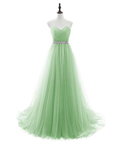 LuckyShe Elegant Lang Tuell Abendkleider Ballkleider Promkleider Partykleider Mint