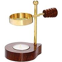 NKlaus Verstellbares Räucherstövchen mit Holzgriff Gold Weihrauchständer Esoterik 1525