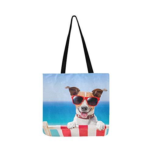 Hund, der auf fantastischem Klappstuhl sich entspannt SHAOKAO SHAOKAO Canvas Tote Handtasche Schultertasche Crossbody Taschen Geldbörsen für Männer und Frauen Einkaufstasche